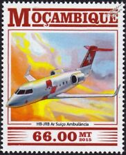 BOMBARDIER CL604 CHALLENGER Swiss Air Ambulance Aircraft Stamp (2015 Mozambique)