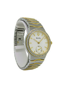 Bulova 98W12 Women's Round Mother of Pearl Diamond Analog Watch