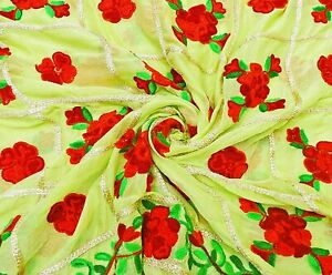 Embroidered Scarves Pure Chiffon Vintage Dupatta Floral Green Stole EMBDP11281