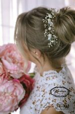 """9""""Bridal Hair Vine, Ivory Mulberry Roses Floral Wedding/ Prom Headpiece"""