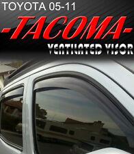 Smoke 2005-2011 Tacoma Double Cab Window Visor Vent Shade Rain/Sun/Wind Guard