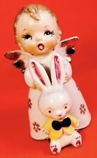 VERY RARE! Adorable Boy Angel Bunny Rabbit Nikoniko Vintage Figurine Christmas