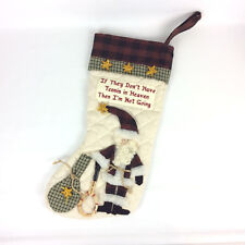 Christmas Stocking Tennis In Heaven Santa Claus Quilted Embroidered Cotton Blend