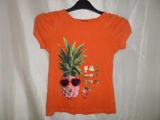 Bluezoo Girls Orange Fruit Print Short Sleeve 100% Cotton Blouse Size 6-7 Years