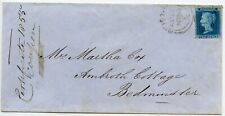 Scarce 1855 2d blue plate 5, Perf 16, on cover from Bristol to Bedminster.