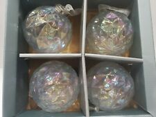 Tinsel & Fir Iridescent JUMBO Christmas Glass Tree Ornaments Decor Set of 4