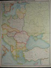 1920 LARGE MAP ~ EASTERN EUROPE COMMUNICATIONS RUMANIA POLAND GERMANY