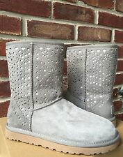 UGG Gray Water Resistent Classic Short Flora Perforated Boots * 7 * RARE!