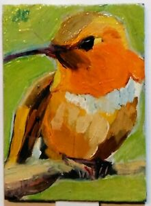 ACEO Original oil painting HUMMINGBIRD animal bird orange impressionist art ATC
