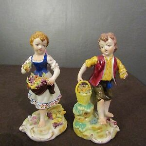 Antique Pair Statuette, Figurine Kids Of Fruit Porcelain Capodimonte