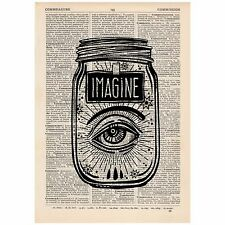 Surreal Imagine Eye Jar Dictionary Print OOAK, Mystic, Art, Unique, Gift,