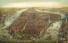 New York City 1873 Birds Eye View Battery Park Painting Real Canvas Art Print