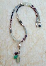 Labradorite Pearl Garnet Green Amethyst Sterling Silver Beaded Necklace Sundance
