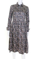 Brooks Brothers  Womens Long Sleeve Dress Grey Brown Floral Print Size 0
