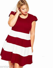 Polyester Machine Washable Striped Plus Size Dresses for Women