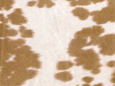 "Suede Cow Print MOCHA Fabric / 54"" Wide / Sold by the Yard"