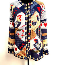 Stiches In Time Rooster Knitted Cardigan/ Thanksgiving Sweater Size M