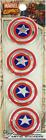 "Emblem 4 PACK - Captain America Shield Logo Marvel METAL 1.125"" Car Sticker 3758"