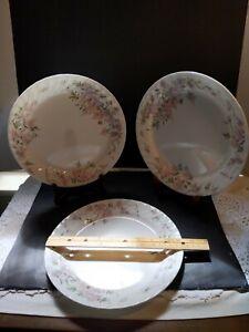 "Corelle WISTERIA DINNER PLATES 10 1/4""  Set of 3 - Fluted Rim  Lavender on White"