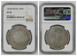 NGC Brazil 1824 B 960 Reis Override Spanish Colonial 8 Reales Silver XF45 #1