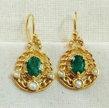 Mesmerizing Emerald & Pearl 14K Gold Over Sterling Silver Earring