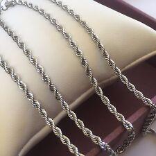 "gcs BOXED SET White Gold GF 22"" Necklace + 8.25"" Bracelet Rope Chain Plum UK"