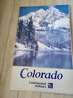 """Vintage CONTINENTAL AIRLINES COLORADO LARGE FRAMED POSTER 25""""X 40"""""""