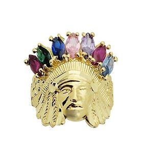 10K Yellow Gold Indian Chief Ring With Multi CZ