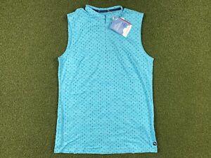 PUMA Cloudspun Sleeveless Polka Dot Golf Polo Zip Blue WMNS SZ S ( 599253 02 )