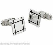 Sterling Silver Cufflinks Square With Black Enamel Lines Cuff Link