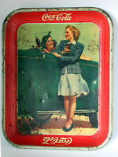 "Vintage 1942 Coca-Cola Metal Serving Tray Two Girls w Car 10-5/8"" x 13-3/8"""