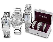Women's Akribos XXIV Elegant Silver-Tone Diamond Bracelet Watch Set