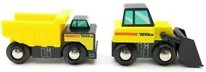 Tonka Mini Wood Dump Truck Front Loader Yellow Black Lot Of 2 Construction Toy