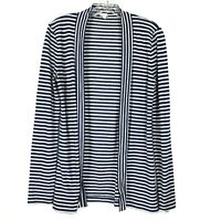 J Crew womens Sweater Cardigan Navy Blue White size S Striped Open Front Cotton