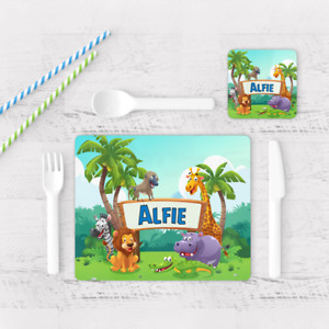 Personalised Safari Zoo Animals Kids Children's Table Placemat & Coaster
