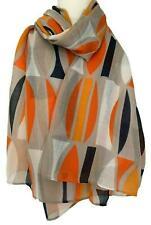 Orange Scarf Navy Blue Grey Abstract Print Ladies Burnt Orange Shawl Sarong