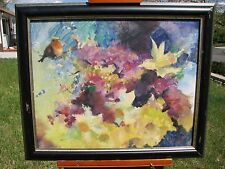 Marsha Gayle, American, 20th Century, Flowers and Bird Impressionistic Painting