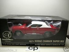 ERTL AMERICAN MUSCLE AUTHENTICS 1971 DODGE CHARGER SUPER BEE 1:18 RED WHITE TOP