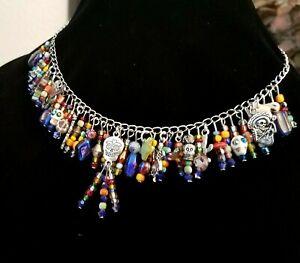 "Day of the Dead Halloween Skull Cross Folk Boho Bead Charm Link Necklace 16 3/4"""