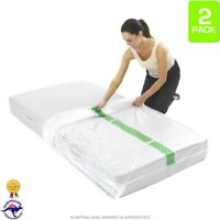 2 x Single Bed Plastic Mattress Protector Moving & Storage Bag Dust Covers