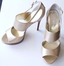 "Via Spiga gold open toe 5"" stiletto strap leather wood grain women size 9 M shoe"