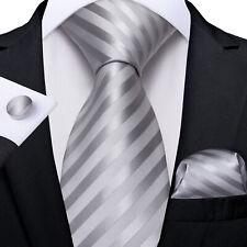 USA Classic Gray Stripped Mens Tie Set Silk Striped Necktie Hanky Set Wedding