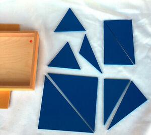 Nienhuis Montessori Vintage Blue Triangles Set Holland Home School Educational