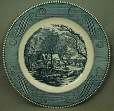 """Currier & Ives The Old Grist Mill Royal blue white 10"""" dinner plate"""