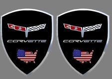 2 adhésifs sticker noir chrome CORVETTE C3 1980  (idéal ailes avant)