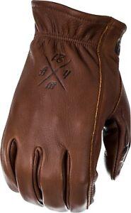Highway 21 The Louie Deerskin Leather Motorcycle Gloves Brown