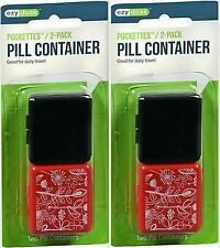 POCKET PILL BOX Travel Medicine Holder Box Case Portable (4 boxes total)