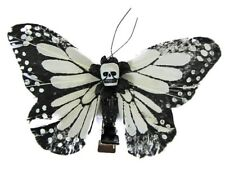 Hairy Scary White and Black Medium Kahlovera Skull Butterfly Feather Hair Clip