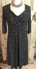 TRAVELSMITH Dress M Black White Polka Dot Stretch Knit Empire Wrinkle Free A19