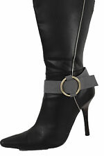 Women Fashion Jewelry Boot Bracelet Strap Grey Faux Leather Shoe Bling Gold Ring